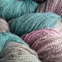 90g Hand-dyed Falklands Corridale Wool 2ply 4ply weight Teal Lavender