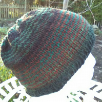 Handknit NORO Beanie Hat 100% Wool Stripey Black Green Terracotta MED