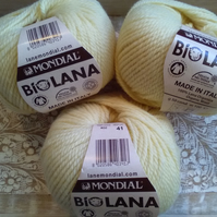 150g MONDIAL BIO LANA ORGANIC WOOL LIGHT ARAN Lemon
