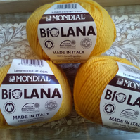 150g MONDIAL BIO LANA ORGANIC WOOL LIGHT ARAN Golden Yellow