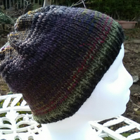 Handknit NORO Beanie Hat 100% Wool Stripey Black Green Purple MED