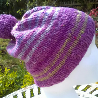 Handknit POM POM HAT 100% wool Stripey Pink Purple Green