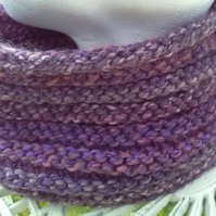 Handknit Textured Circular Cowl in Purples