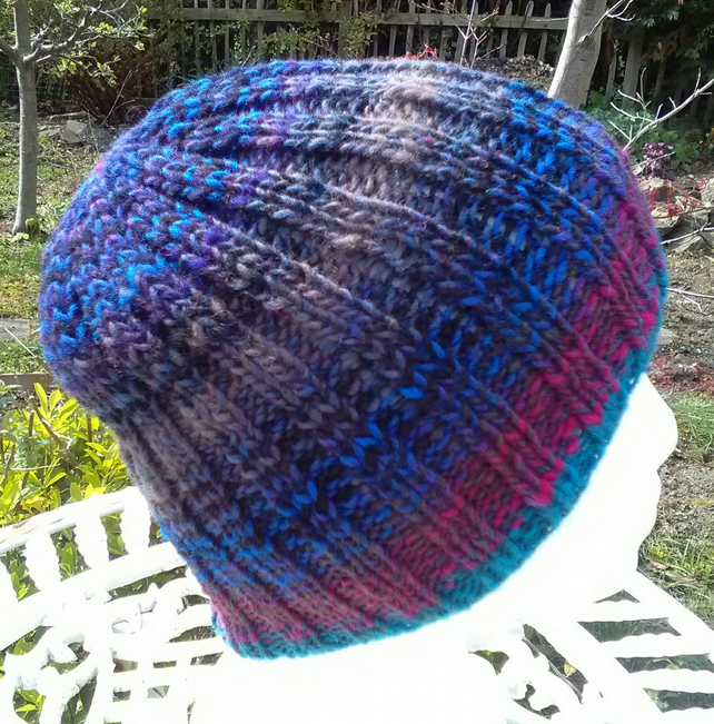 Handknit 100% Wool NORO STRIPEY RIBBED HAT Pink Black Blue SMALL MED