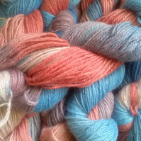 100g Hand-dyed 100% WENSLEYDALE WOOL DK sky blue coral antique rose lavender