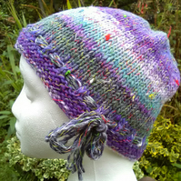 Handknit Noro cotton silk & wool hat purple aqua sage stripes Medium