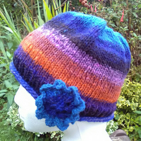 Handknit Noro single flowered Hat 100% Wool Blue Orange