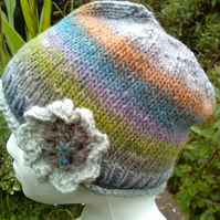 Handknit Noro single flowered Hat 100% Wool Grey with Pastels