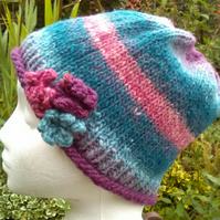 Handknit Noro 3-flowered Roll up Beanie Hat 100% wool Teal, Pink & Blues Medium