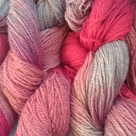 90g Hand-dyed Falklands Corridale Wool 4ply Pinks Pale Blue Grey