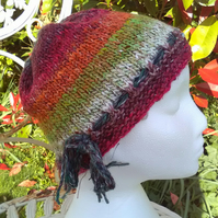 Handknit Noro cotton silk & wool hat green red lime and orange stripes Medium
