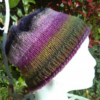 Handknit Noro Roll up Beanie Hat 100% wool Heather Medium