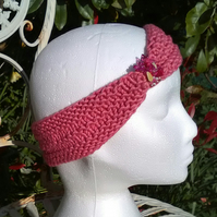 SKINNY BLINGY HAIRBAND HandKnit BAMBOO Candy Pink Medium