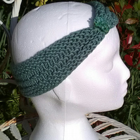 SKINNY BLINGY HAIRBAND HandKnit BAMBOO Sage Green Medium