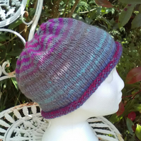 Handknit Noro Roll up Beanie Hat 100% wool Pink Blue Grey Medium