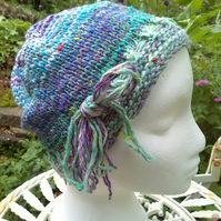 Handknit Noro cotton silk & wool hat Minty multi stripes Medium