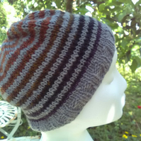 Handknit Noro Stripey Beanie Hat 100% wool Terracotta Grey Medium