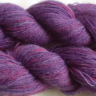 25g Hand-dyed Laceweight Lambswool medium purple and pink mix
