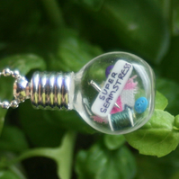 Super Seamstress Miniature Sewing Miniature Vial Glass Pendant