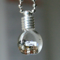 Time Steam Punk Inspired Vial With Vintage Watch Parts Necklace