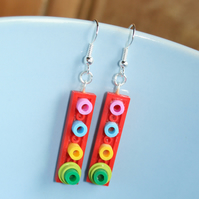 Reverse Lego Red and Citrus Skittles Inspired Earrings