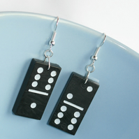 Small Black and White Domino Earrings