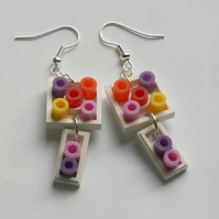 Reverse Lego White Square Dangles