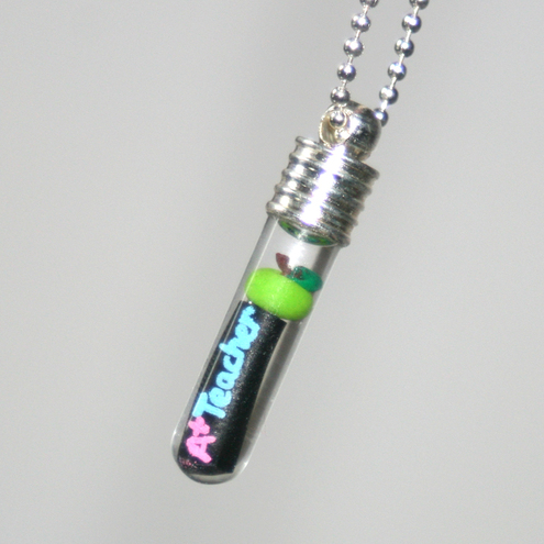 Gift For an A Plus Teacher With Apple and Blackboard Glass Vial Pendant