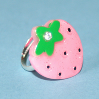 Sweet Baby Pink Strawberry Adjustable Ring