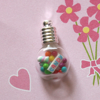 Sweet as Candy Glass Vial Pendant Charm