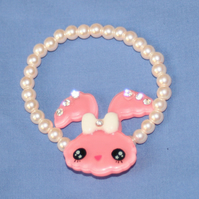 Sparkling White Pearl and Pink Kawaii Bunny Bracelet