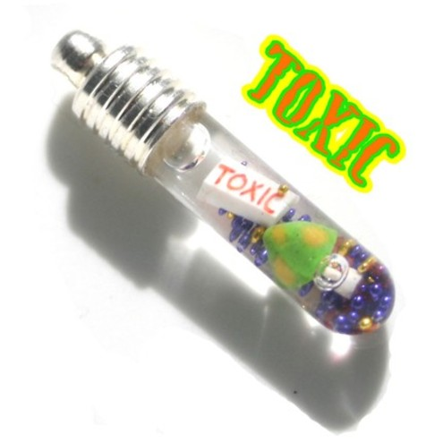 Toxic Mushroom Green, Yellow and Orange Snow Globe 1 inch Vial Charm Necklace