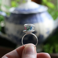 Tiny Rose Tea Cup and Saucer Porcelain Ring