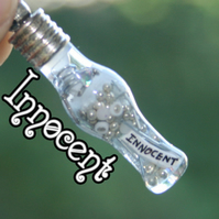 Innocent White and Silver Vial Necklace Pendant