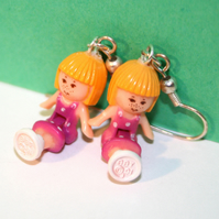 Vintage Polly Pocket Earrings Little Red Head Doll With Pink Polka Dot Dress