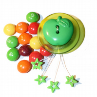 Funky Green Apple Brooch With Shooting Stars