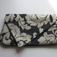 Floral Navy & Gold Clutch
