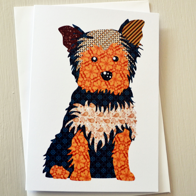 Yorkshire Terrier Cute Dog Animal Greetings Card by Thirteen Rabbits