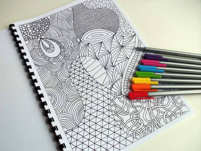 Colouring Patterns Books : Printable colouring book zentangle inspired folksy