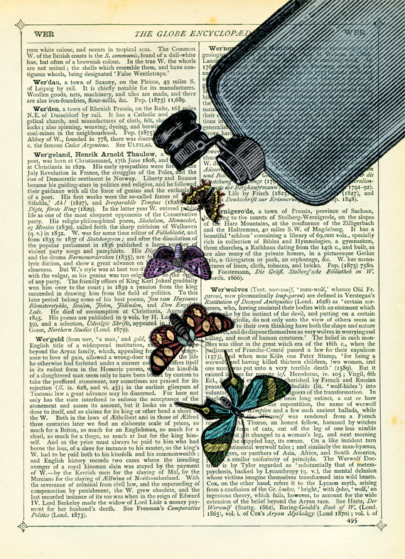 Hip Flask Bottle with Butterflies - Vintage Encyclopaedia Print