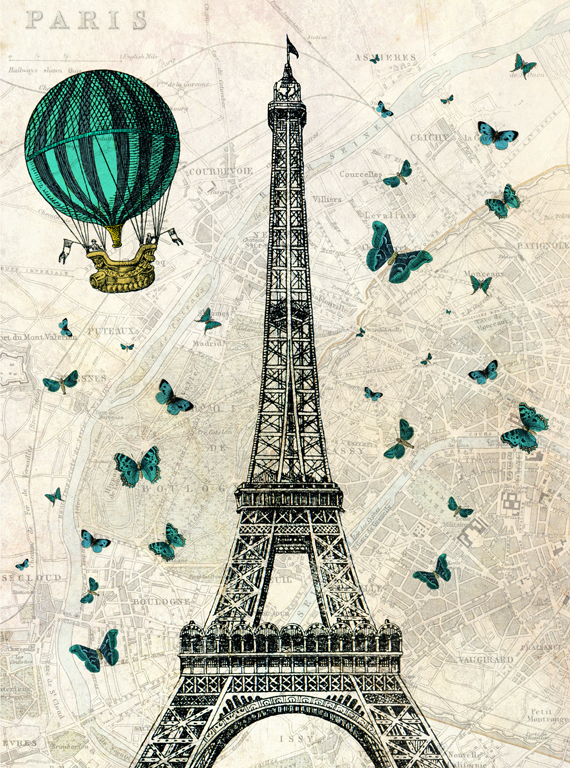 Luxury Airplane Over Eiffel Tower : Eiffel tower with hot air balloon and butterfli folksy