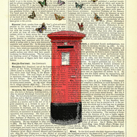British Post Box with Butterflies - Vintage Encyclopaedia Print