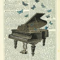 Piano with Butterflies - Vintage Encyclopaedia Print