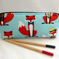 Pencil case with zip. Mr Fox, blue background. Woodland. Back to School