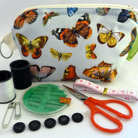 Travel sewing kit, keyring attachment. Botanical Butterflies. Mothers Day.