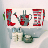 Wash bag. Wellies. Gardening. Waterproof 29 x 20 cm. Gift Mothers Day.