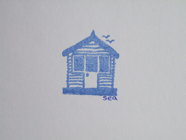 hand printed greetings card - blue beach hut