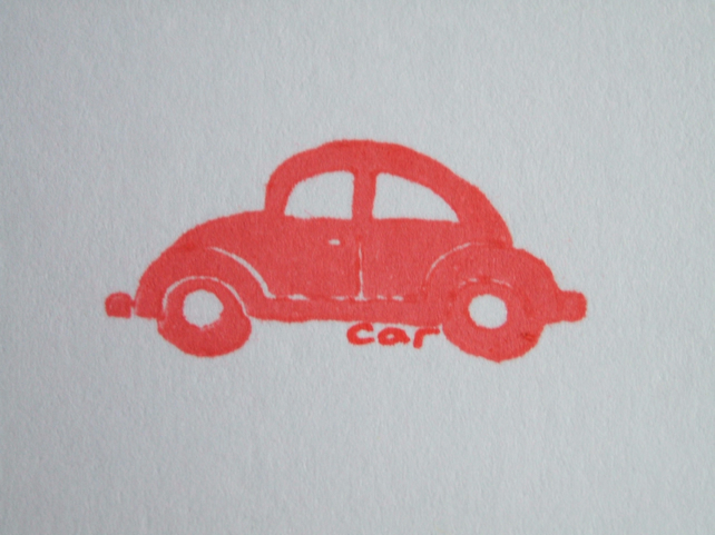 hand printed greetings card - red beetle car