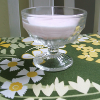 Hand poured pale pink soy wax candle in vintage pressed glass bowl - freesia