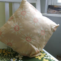 Vintage fabric cushion - yellow sunflower